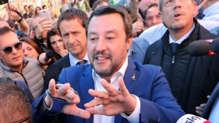 Italian Interior Minister Matteo Salvini visits a place where a young girl was murdered, in Rome
