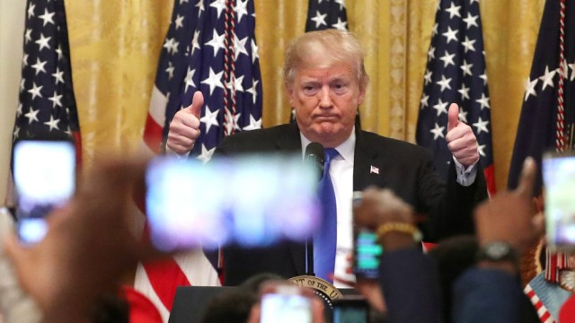 U.S. President Trump gives thumbs up as he talks about arrest of bombing suspect during event in East Room of White House in Washington