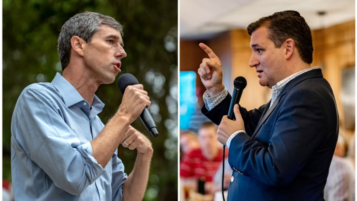 FILE PHOTOS: A combination photo  of Beto O'Rourke and Ted Cruz speaking to supporters in Texas