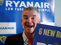 Ryanair CEO O'Leary poses after news conference in Machelen near Brussels