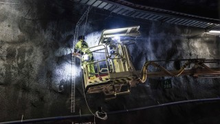August 17 2017 Olkiluoto Finland Construction work in Posiva s spent nuclear fuel repository O