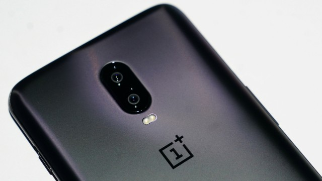 A OnePlus 6T phone is pictured during a launch event for the new OnePlus 6T in the Manhattan borough of New York