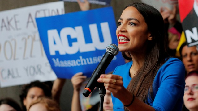 FILE PHOTO: Democratic Congressional candidate Ocasio-Cortez speaks at a rally against Supreme Court nominee Brett Kavanaugh in Boston