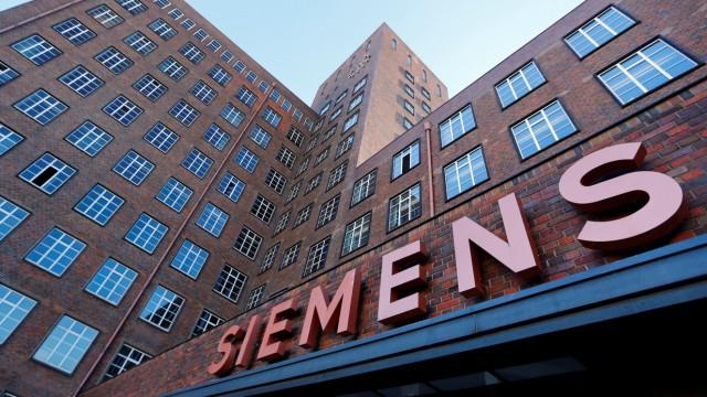 The Siemens logo is seen on a building in Siemensstadt in Berlin