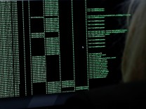 An IBM employee participates in a training exercise in IBM's X-Force Command C-TOC, a mobile Cyber Tactical Operations Center, in the Brooklyn borough of New York
