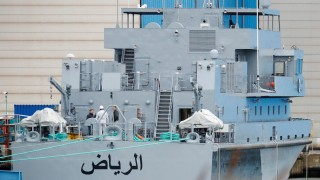 A coast guard boat 'Alriyadh' for Saudi Arabia is pictured at the Luerssen Peene shipyard in Wolgast