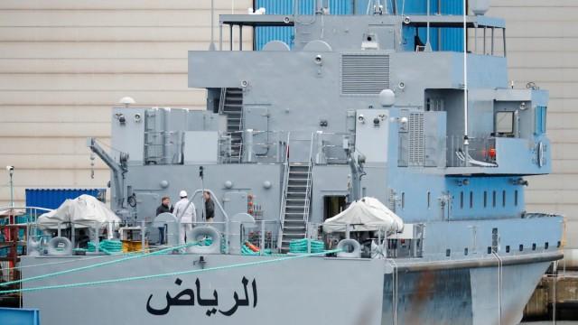 A coast guard boat 'Alriyadh' for Saudi Arabia is pictured at the Luerssen Peene shipyard in Wolgast