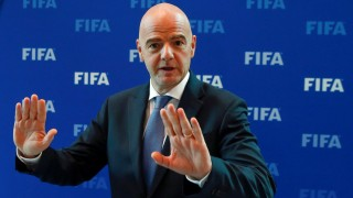 FILE PHOTO: FIFA President Gianni Infantino gestures after a meeting of the FIFA Council at the FIFA headquarters in Zurich