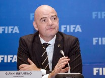 FIFA President Gianni Infantino attends a news conference in Kigali