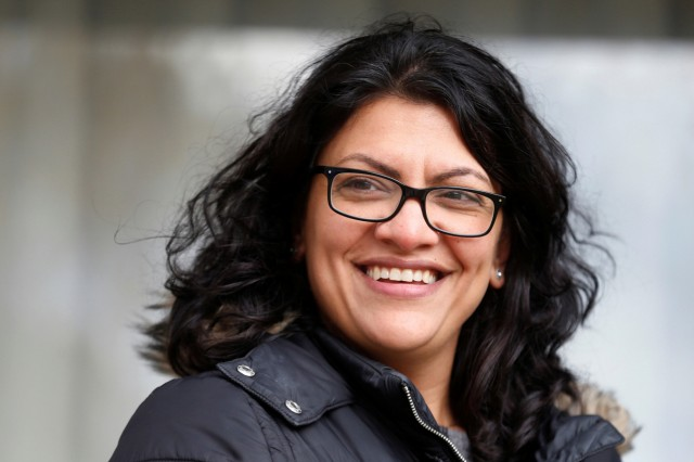 FILE PHOTO: Democratic U.S. congressional candidate Rashida Tlaib canvasses a neighborhood before Election Day in Detroit