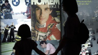 VISITORS LOOK AT AYRTON SENNA TRAJECTORY EXHIBITON IN SAO PAULO