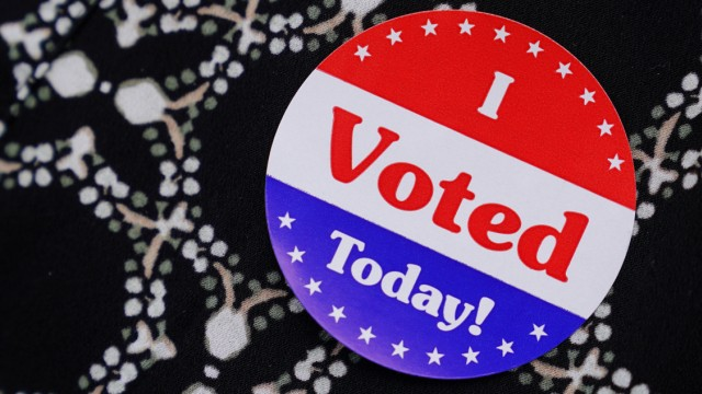 A woman wears an 'I Voted Today' sticker at a polling place during the midterm election in Ponte Vedra Beach, Florida