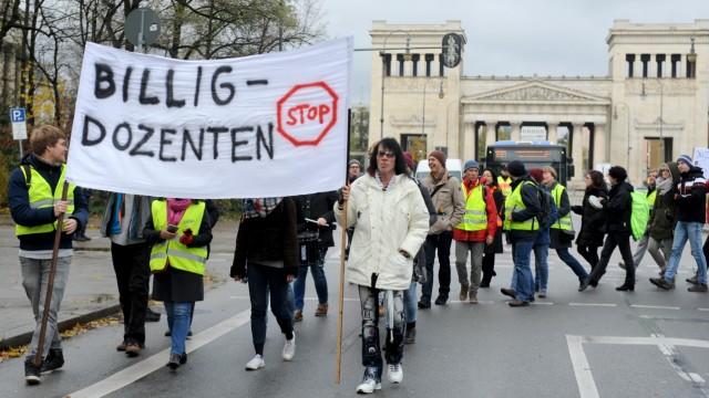 Lehrbeauftrage der bayerischen Musikhochschulen demonstrieren in München, 2017