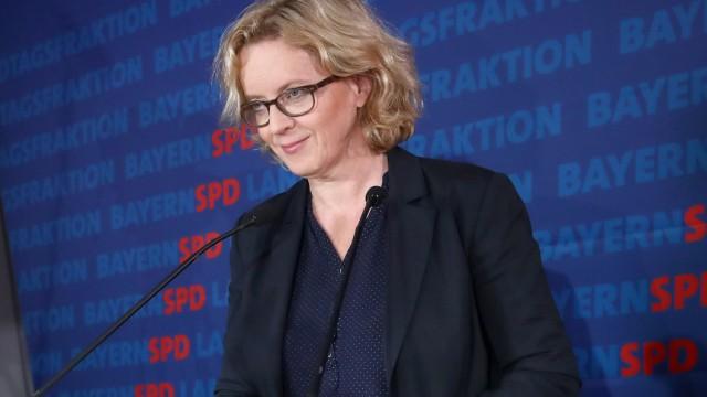 Bayern-SPD-Chefin Natascha Kohnen auf einer Pressekonferenz