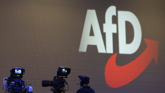 AfD-Logo beim Parteitag in Augsburg