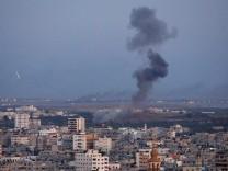 Smoke rises during an Israeli air strike in Gaza