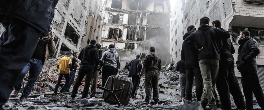 Gazastreifen - Zerstörte Häuser in Gaza-Stadt