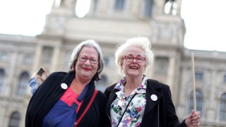 """Omas gegen rechts"":  Susanne Scholl and Monika Salzer, founders of grannies against right, pose during a rally in Vienna"