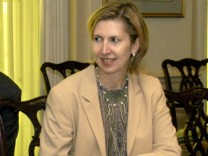 FILE PHOTO: Deputy Assistant Secretary of Defense for Eurasian Policy, Mira Ricardel takes part in a meeting at the Pentagon in Washington