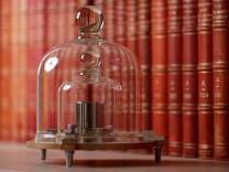 A replica of the International Prototype Kilogram is pictured at the International Bureau of Weights and Measures in Sevres near Paris