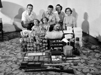 Texas Family Posing With Supplies For Atomic War Drill