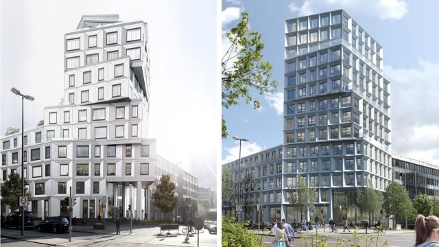 Der ursprüngliche Entwurf des Hochhauses am Heimeranplatz fiel in der Kommission durch. Das stieß auf Unverständnis. Doch der Architekt sagt jetzt, sein daraufhin überarbeiteter (rechts) sei viel besser geworden.