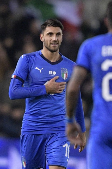 Italian Vincenzo Grifo celebrates after scoring during a friendly soccer game between Italy and USA