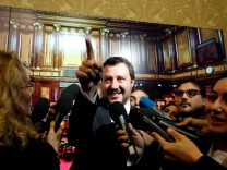 FILE PHOTO: Interior Minister Matteo Salvini speaks to the media at the Senate in Rome