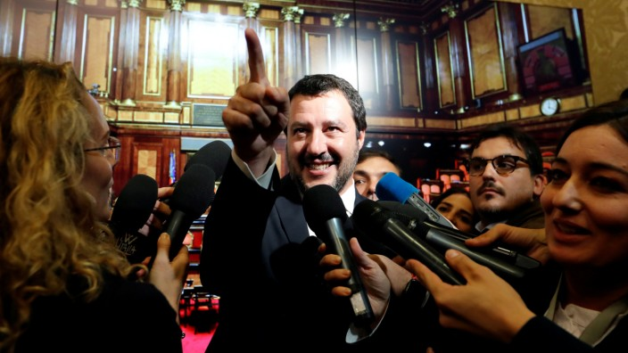 FILE PHOTO: Interior Minister Matteo Salvini speaks to the media at the Senate in Rome