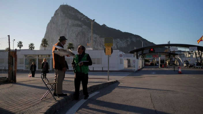 The Rock of the British overseas territory of Gibraltar, historically claimed by Spain, is seen at dawn near the border from the Spanish city of La Linea de la Concepcion