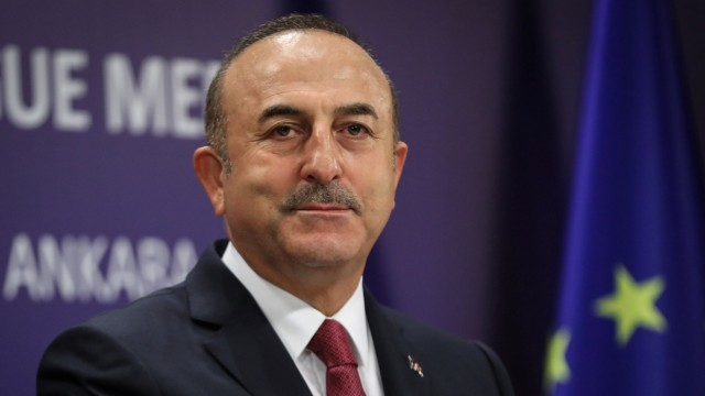 Turkey's Foreign Minister Cavusoglu attends a news conference in Ankara