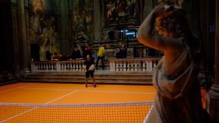 Interactive tennis court inside 16th century Milan church