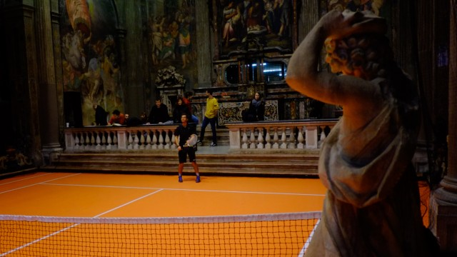Interactive tennis court inside 16th century Milan church