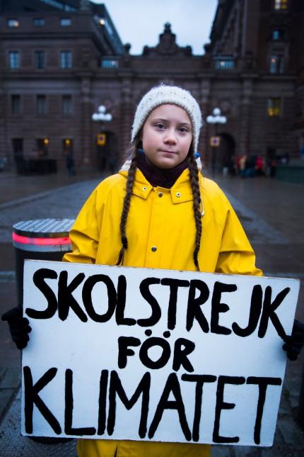 Swedish teenager Greta Thunberg during her Friday climate change protest, Stockholm, Sweden - 30 Nov 2018