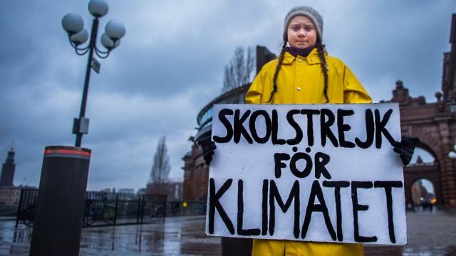 Swedish teenager Greta Thunberg during a climate manifestation in Stockholm
