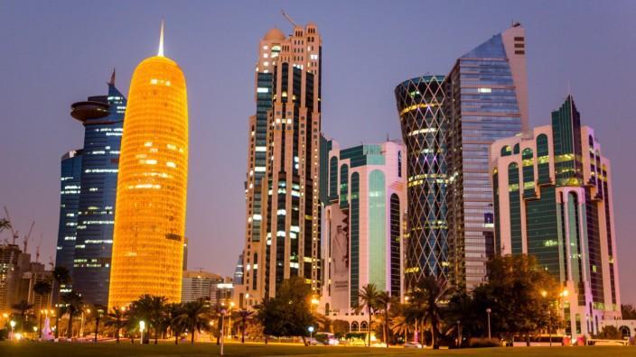 DOHA QATAR - MARCH 15 2018 Doha skyscrapers lit at night Marina Lystseva TASS PUBLICATIONxINxGE