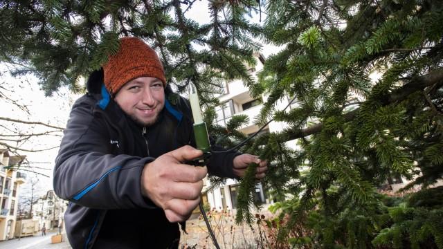 Unterhaching, Rathausplatz,Treffen mit Herrn Martin Graßberger vom Bauhof,  der 2356 Lampen für die Weihnachtbeleuchtung montiert hat.