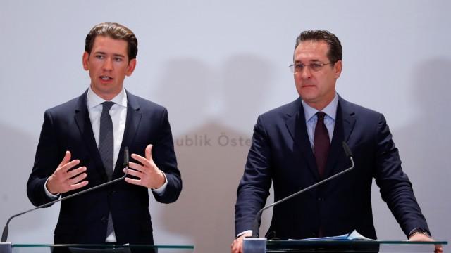 Austria's Chancellor Kurz and Vice Chancellor Strache address the media in Vienna