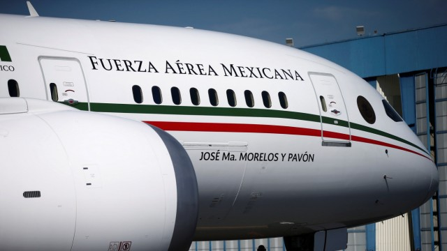 Mexican Air Force Presidential Boeing 787-8 Dreamliner is pictured at a hangar before being put up for sale by Mexico's new President Andres Manuel Lopez Obrador, at Benito Juarez International Airport in Mexico City