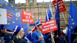 Anti-Brexit demonstrators wave flags and placards during a protest opposite the Houses of Parliament, London
