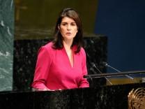 Nikki Haley bringt in der UN-Generalversammlung eine Resolution gegen die Hamas ein