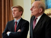 FILE PHOTO: Vice President Pence's Chief of Staff Ayers and White House Chief of Staff Kelly look on as Trump holds a cabinet meeting at the White House in Washington