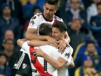 River Plate-Spieler bejubeln ein Tor im Finale der Copa Libertadores 2018