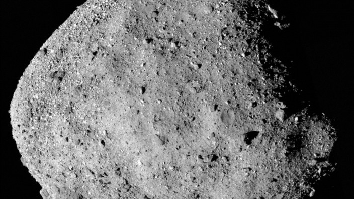 NASA handout of a mosaic image of asteroid Bennu composed of 12 PolyCam images