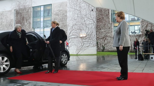 Angela Merkel empfängt Theresa May 2018 zu Brexit-Gesprächen in Berlin