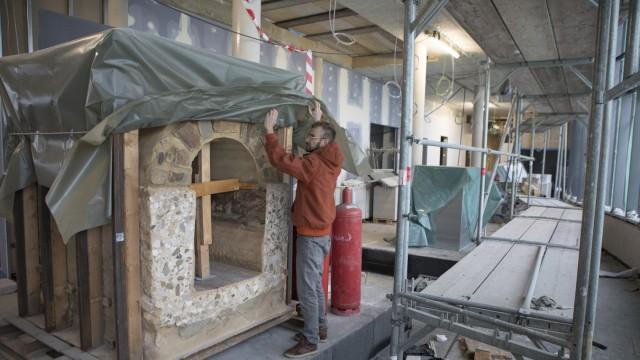 Baustelle Kläranlage Gebäude Amper Verband Olching im Winter