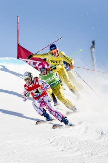 Alizee Baron of France skis ahead of Heidi Zacher of Germany, Julia Eichinger of Germany and Anna Woerner of Germany during the Ladies' Ski Cross event at the Freestyle Skiing World Cup in Idre, Sweden
