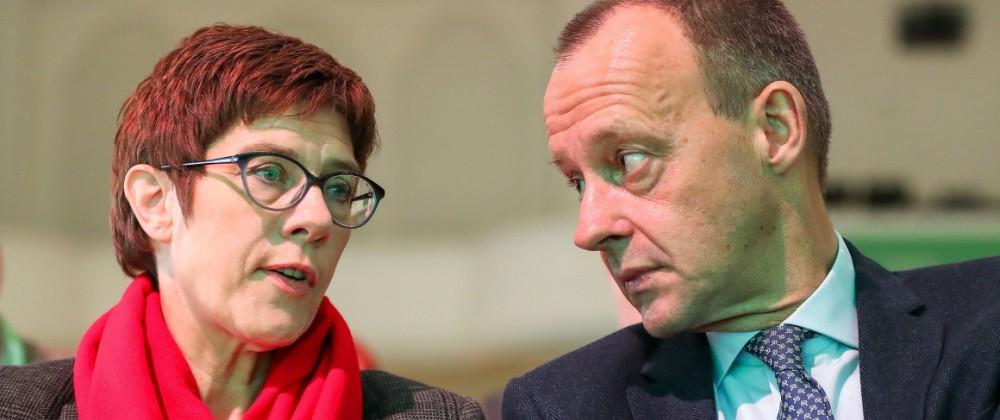 CDU-Politiker Annegret Kramp-Karrenbauer und Friedrich Merz