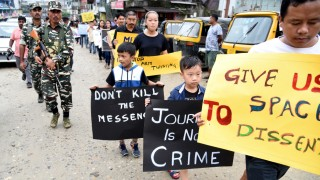 Protest gegen Gewalt gegen Journalisten in Indien