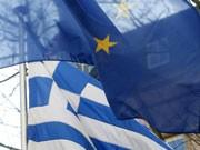 Die Flaggen Griechenlands und der EU, Foto: AP